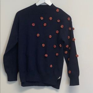 NWT Zara knitwear navy pompon sweater 11-12 yrs